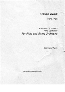 Six Flute Concertos for Flute, Strings and Cembalo, Op.10: Concerto No.3 – score, parts, RV 428 by Antonio Vivaldi