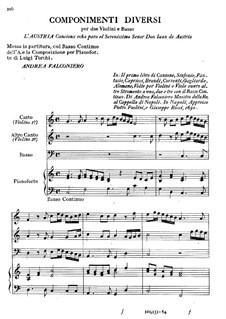 Stücke für zwei Violinen, Violoncello und Klavier: Stücke für zwei Violinen, Violoncello und Klavier by Andrea Falconieri