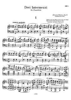 Drei Intermezzos, Op.117: Vollsammlung by Johannes Brahms