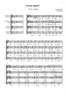 Come Again: Für gemischten Chor by John Dowland