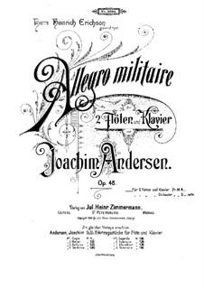 Allegro Militaire für zwei Flöten und Klavier, Op.48: Partitur, Solostimme by Joachim Andersen