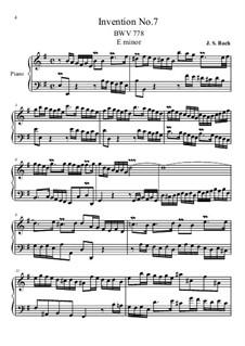 No.7 in e-moll, BWV 778: Für Klavier by Johann Sebastian Bach