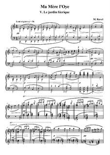 Meine Mutter die Gans. Suite, M.60: Nr.5 Der Feengarten, für Klavier by Maurice Ravel
