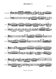 Nr.3 in D-Dur, BWV 774: Für zwei Cellos by Johann Sebastian Bach