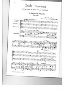 Grosse Totenmesse (oder Requiem), H.75 Op.5: No.1 Requiem et Kyrie, for choir and piano by Hector Berlioz