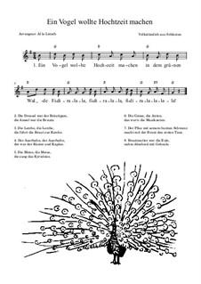 Ein Vogel wollte Hochzeit machen: Lead sheet by folklore