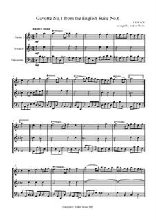 Suite Nr.6 in d-Moll, BWV 811: Gavotte No.1, for string trio by Johann Sebastian Bach
