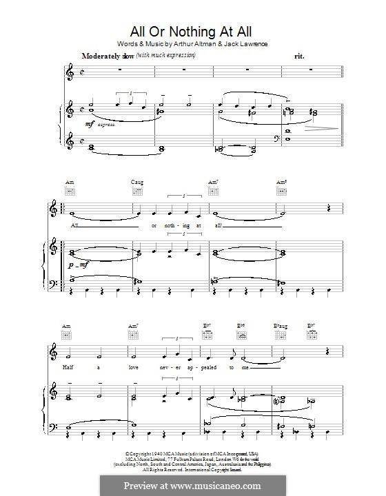 All or Nothing at All: Für Stimme und Klavier (oder Gitarre) by Arthur Altman, Jack Lawrence