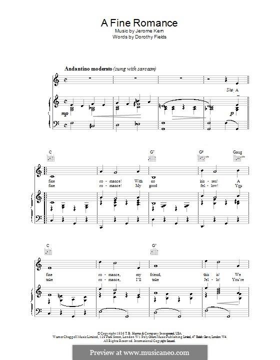 A Fine Romance: Für Stimme und Klavier oder Gitarre (Frank Sinatra) by Jerome Kern