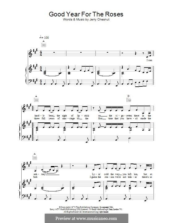 A Good Year for the Roses (Elvis Costello): Für Stimme und Klavier (oder Gitarre) by Jerry Chesnut