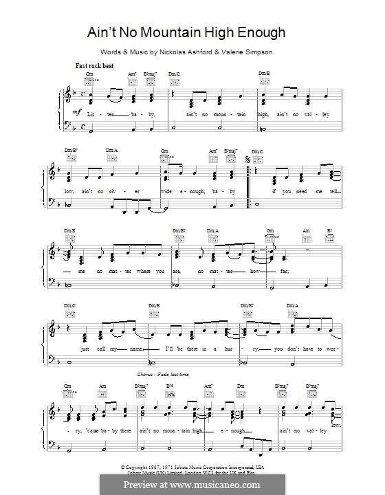 Ain't No Mountain High Enough (Marvin Gaye & Tammi Terrell): Für Stimme und Klavier (oder Gitarre) by Nicholas Ashford, Valerie Simpson