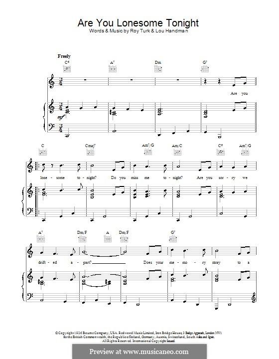 Are You Lonesome Tonight? (Elvis Presley): Für Stimme und Klavier (oder Gitarre) by Lou Handman, Roy Turk