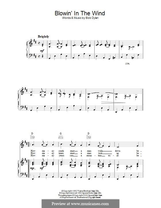 Blowin' in the Wind: Für Stimme und Klavier (oder Gitarre) by Bob Dylan