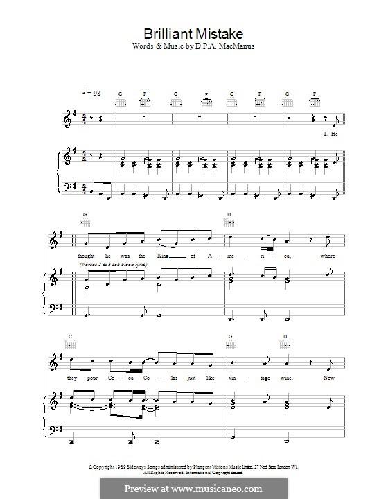 Brilliant Mistake: Für Stimme und Klavier (oder Gitarre) by Elvis Costello