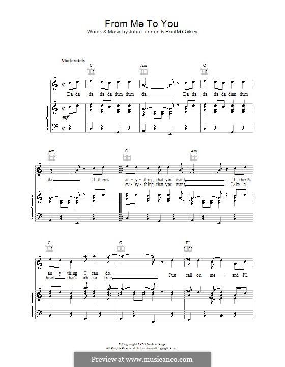 From Me to You (The Beatles): Für Stimme und Klavier (oder Gitarre) by John Lennon, Paul McCartney