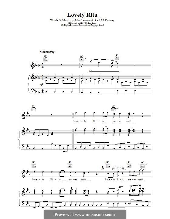 Lovely Rita (The Beatles): Für Stimme und Klavier (oder Gitarre) by John Lennon, Paul McCartney
