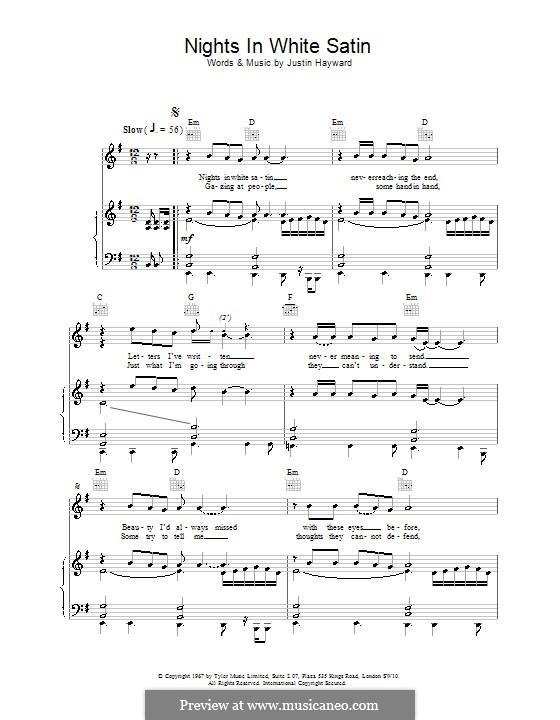 Nights in White Satin (The Moody Blues): Für Stimme und Klavier (oder Gitarre) by Justin Hayward