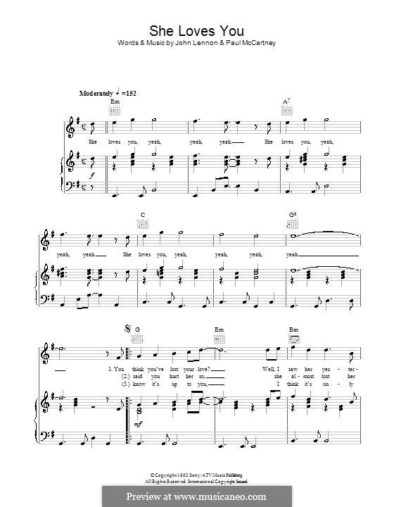 She Loves You (The Beatles): Für Stimme mit Klavier oder Gitarre by John Lennon, Paul McCartney