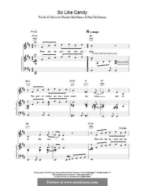 So Like Candy: Für Stimme und Klavier (oder Gitarre) by Paul McCartney