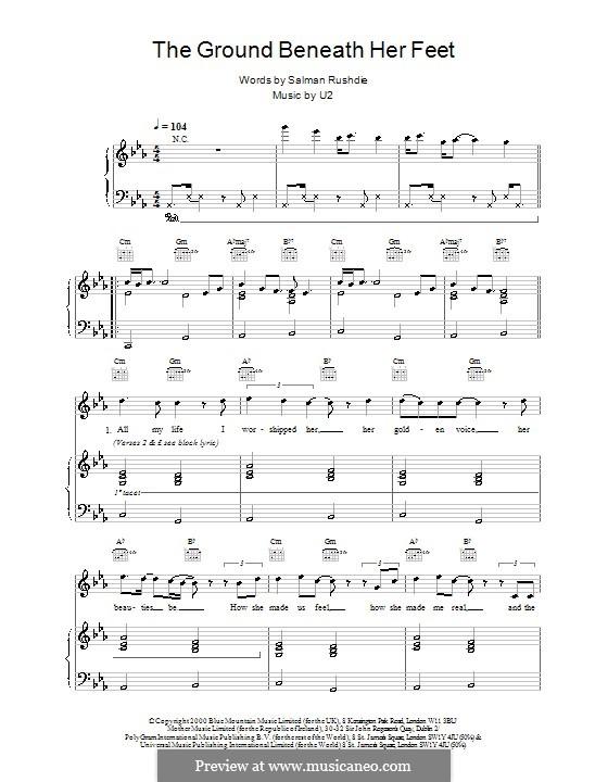 The Ground Beneath Her Feet (from The Million Dollar Hotel): Für Stimme und Klavier (oder Gitarre) by U2
