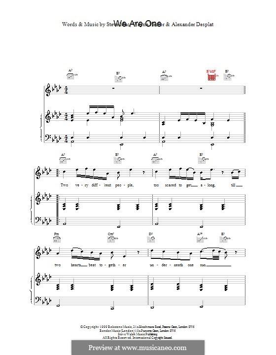 We Are One (Westlife): Für Stimme und Klavier (oder Gitarre) by Alexandre Desplat, Steve Mac, Wayne Anthony Hector