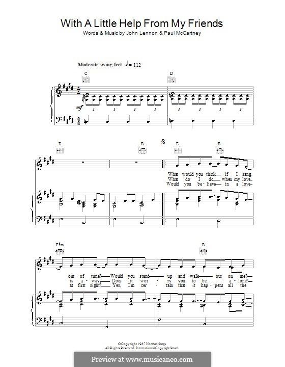 With a Little Help from My Friends (The Beatles): Für Stimme mit Klavier oder Gitarre by John Lennon, Paul McCartney