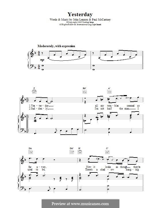 Yesterday (The Beatles): Für Stimme und Klavier oder Gitarre (F-Dur) by John Lennon, Paul McCartney