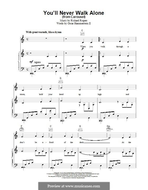 You'll Never Walk Alone (from Carousel): Für Stimme mit Klavier oder Gitarre by Richard Rodgers
