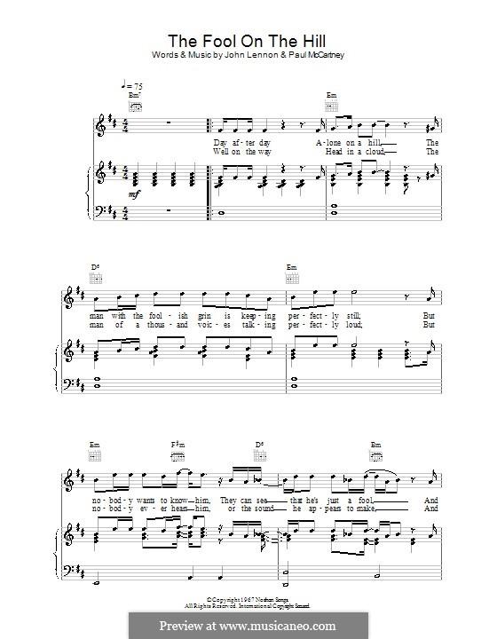 The Fool on the Hill (The Beatles): Für Stimme und Klavier oder Gitarre (Noten von hohem Qualität) by John Lennon, Paul McCartney