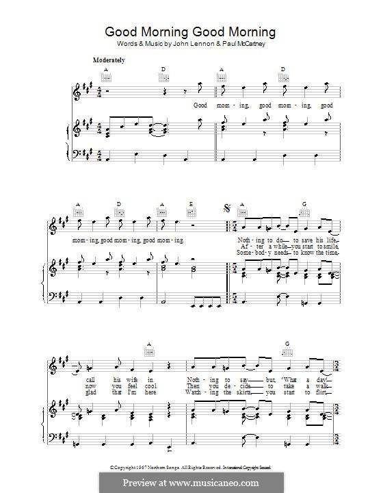 Good Morning Good Morning (The Beatles): Für Stimme und Klavier (oder Gitarre) by John Lennon, Paul McCartney