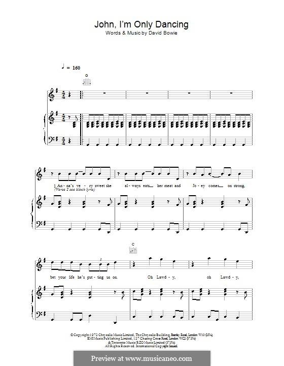 John, I'm Only Dancing: Für Stimme und Klavier (oder Gitarre) by David Bowie