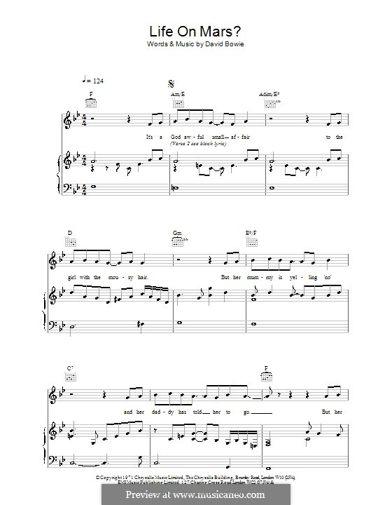 Life on Mars?: Für Stimme und Klavier (oder Gitarre) by David Bowie