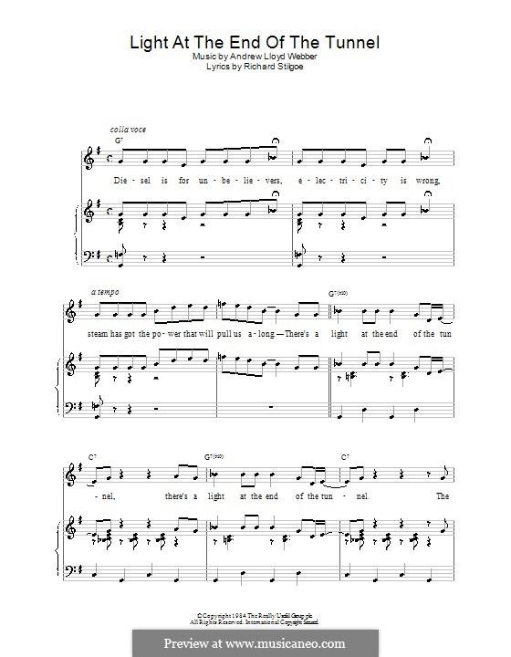 Light at the End of the Tunnel: Für Stimme und Klavier (oder Gitarre) by Andrew Lloyd Webber