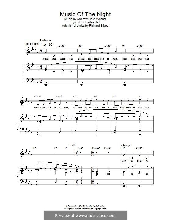 The Music of the Night: Für Stimme und Klavier (oder Gitarre) by Andrew Lloyd Webber