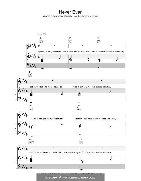 Never Ever (All Saints): Für Stimme und Klavier (oder Gitarre) by Esmail Jazayeri, Sean Mather, Shaznay Lewis