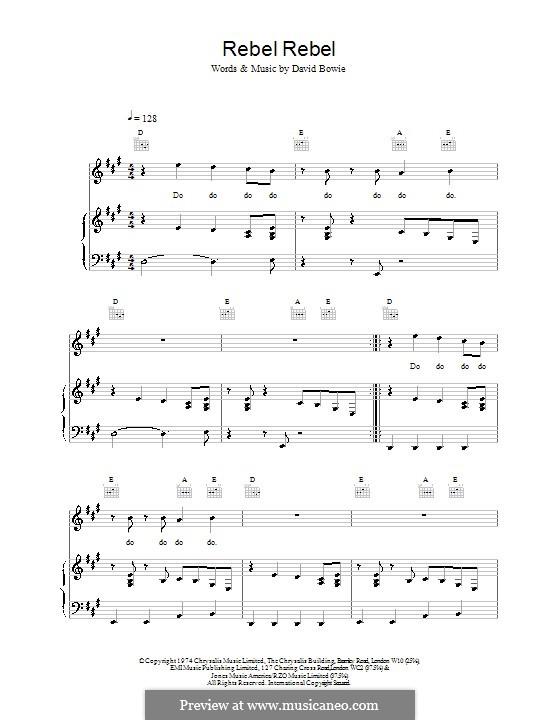 Rebel Rebel: Für Stimme und Klavier oder Gitarre (Noten von hohem Qualität) by David Bowie