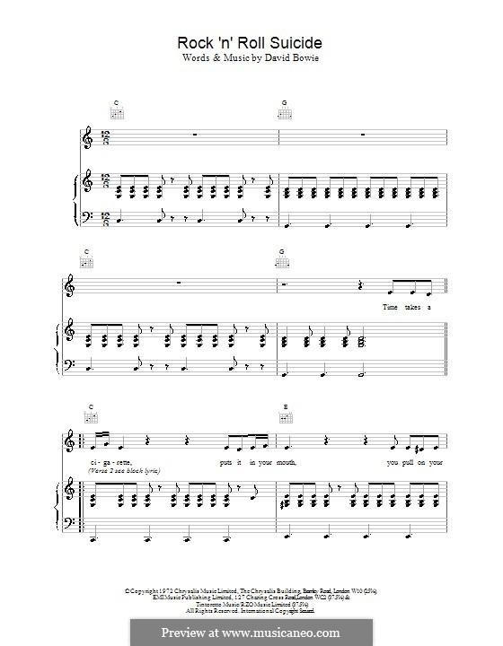 Rock 'n' Roll Suicide: Für Stimme und Klavier (oder Gitarre) by David Bowie