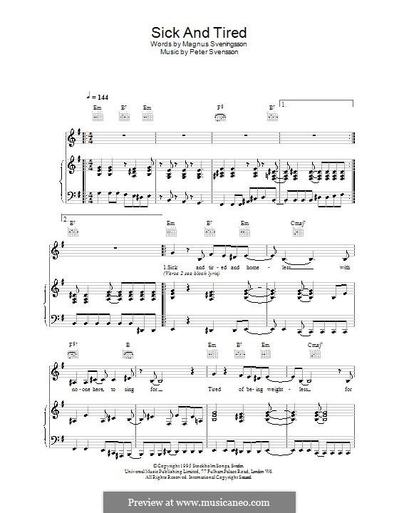 Sick and Tired (The Cardigans): Für Stimme und Klavier (oder Gitarre) by Peter Svensson
