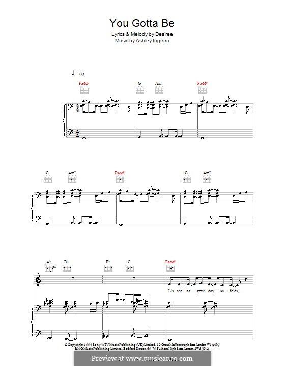 You Gotta Be: Für Stimme und Klavier (oder Gitarre) by Des'ree, Ashley Ingram
