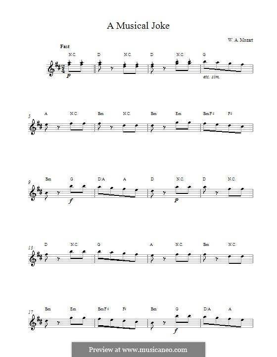 Ein Musikalischer Spass, K.522: Presto. Melody line and chords by Wolfgang Amadeus Mozart