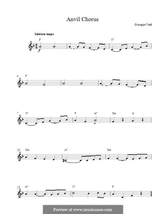 Anvil Chorus: Melodische Linie by Giuseppe Verdi