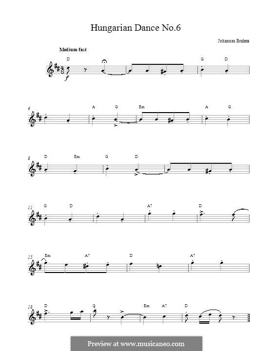 Tanz Nr.6 in Des-Dur: Melodie, Text und Akkorde by Johannes Brahms