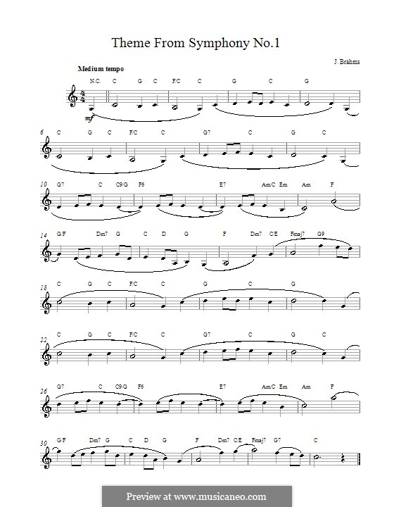 Teil IV: Theme. Melody line, lyrics and chords by Johannes Brahms