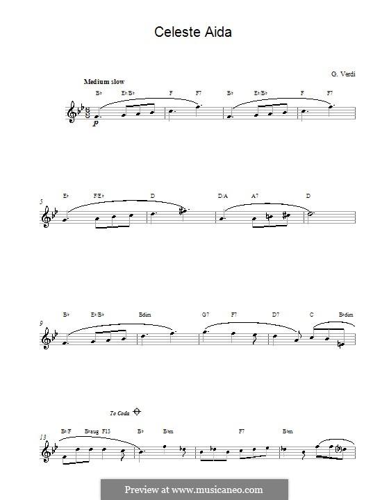 Celeste Aida: Melodische Linie by Giuseppe Verdi
