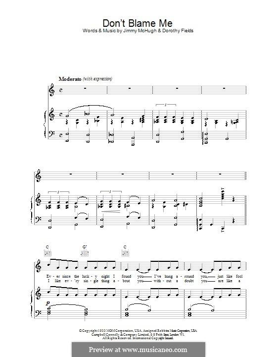 Don't Blame Me: Für Stimme und Klavier (oder Gitarre) by Jimmy McHugh