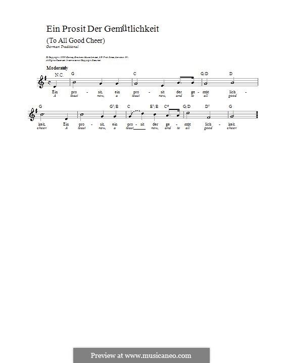 Ein Prosit Der Gem Tlichkeit Von Folklore Noten Auf Musicaneo