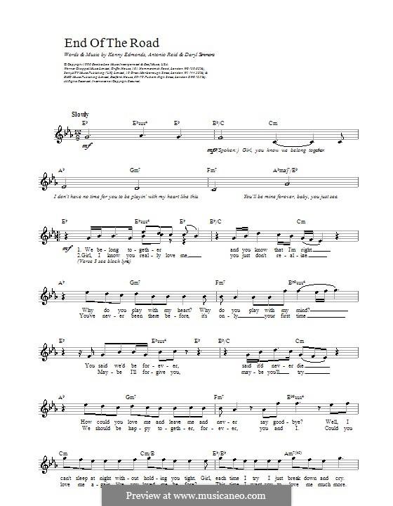 End of the Roads (Boyz II Men): Melodie, Text und Akkorde by L.A. Reid, Daryl Simmons, Kenneth 'Babyface' Edmonds