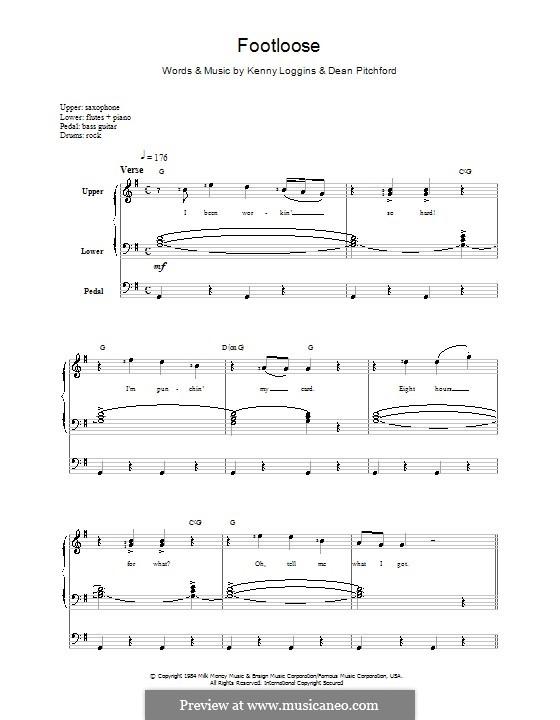 Footloose: Melodie, Text und Akkorde by Kenny Loggins