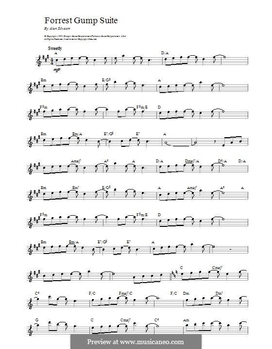 Forrest Gump Suite (Theme): Melodie, Text und Akkorde by Alan Silvestri