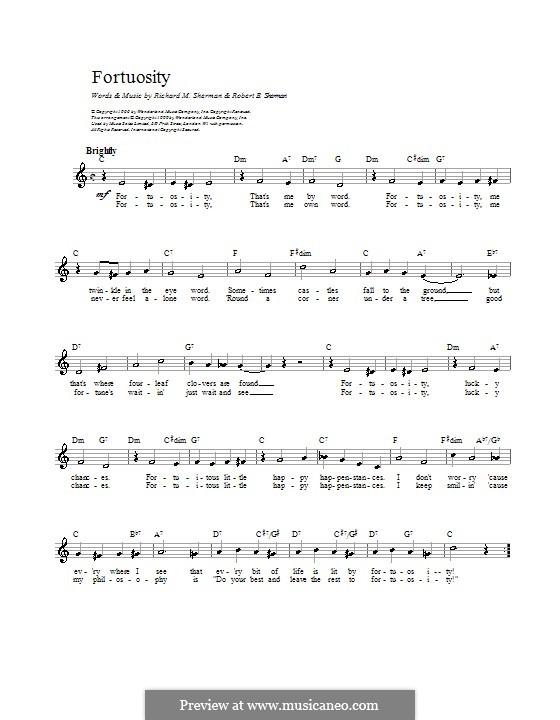 Fortuosity: Melodie, Text und Akkorde by Richard M. Sherman, Robert B. Sherman